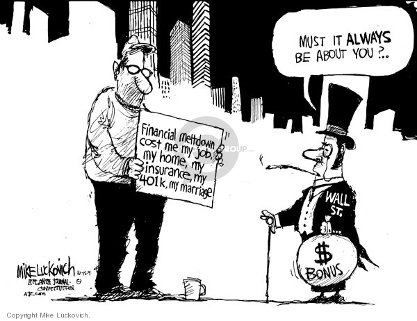 Cartoonist Mike Luckovich  Mike Luckovich's Editorial Cartoons 2009-10-15 finance investment