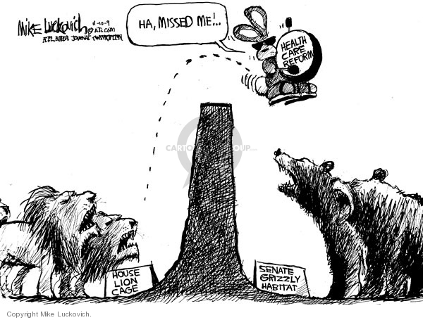 Cartoonist Mike Luckovich  Mike Luckovich's Editorial Cartoons 2009-11-10 health bill