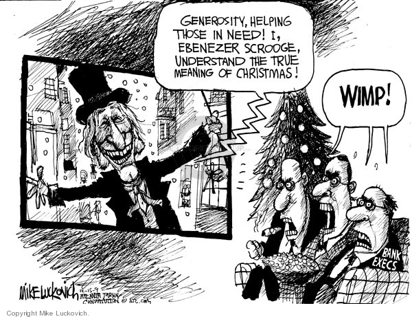 Cartoonist Mike Luckovich  Mike Luckovich's Editorial Cartoons 2009-12-15 bank