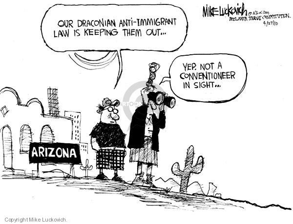 Mike Luckovich  Mike Luckovich's Editorial Cartoons 2010-04-27 anti-immigration