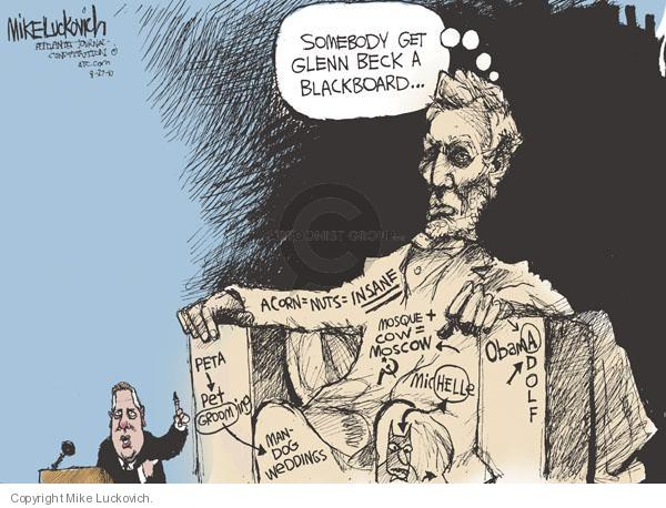 Cartoonist Mike Luckovich  Mike Luckovich's Editorial Cartoons 2010-08-27 Abraham Lincoln