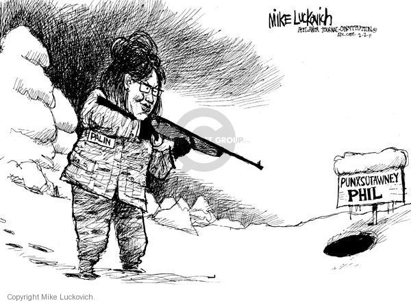 Cartoonist Mike Luckovich  Mike Luckovich's Editorial Cartoons 2011-02-02 hunt
