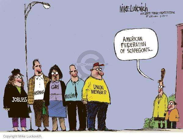 Cartoonist Mike Luckovich  Mike Luckovich's Editorial Cartoons 2011-02-23 blame