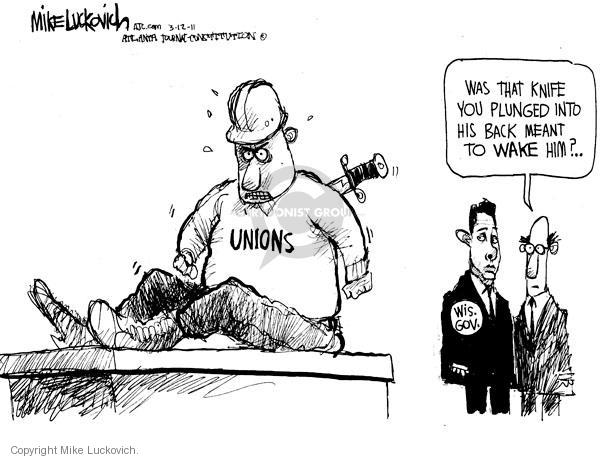 Mike Luckovich  Mike Luckovich's Editorial Cartoons 2011-03-11 labor union