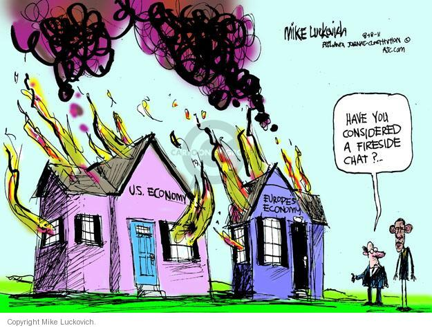 Cartoonist Mike Luckovich  Mike Luckovich's Editorial Cartoons 2011-08-18 recession