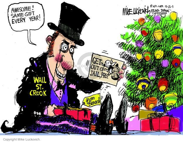 Cartoonist Mike Luckovich  Mike Luckovich's Editorial Cartoons 2011-12-25 bank