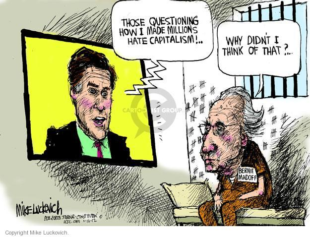 Cartoonist Mike Luckovich  Mike Luckovich's Editorial Cartoons 2012-01-13 jail