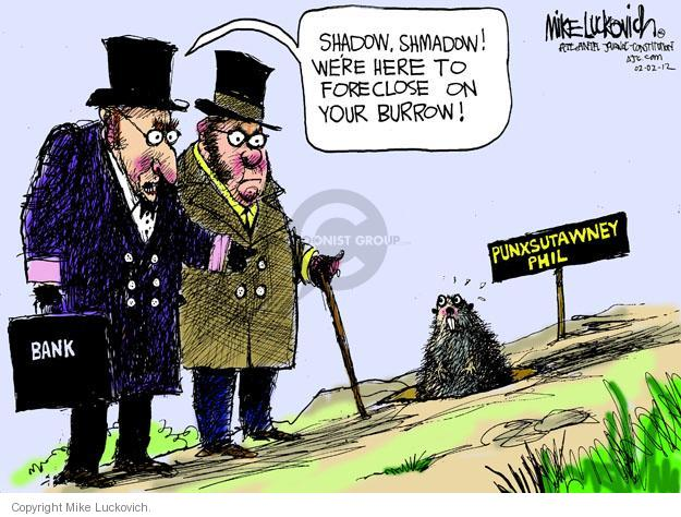 Cartoonist Mike Luckovich  Mike Luckovich's Editorial Cartoons 2012-02-02 bank