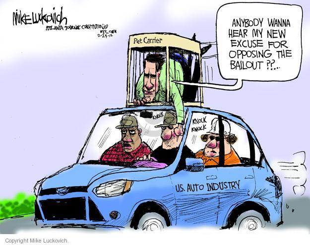 Mike Luckovich  Mike Luckovich's Editorial Cartoons 2012-02-24 automotive industry bailout