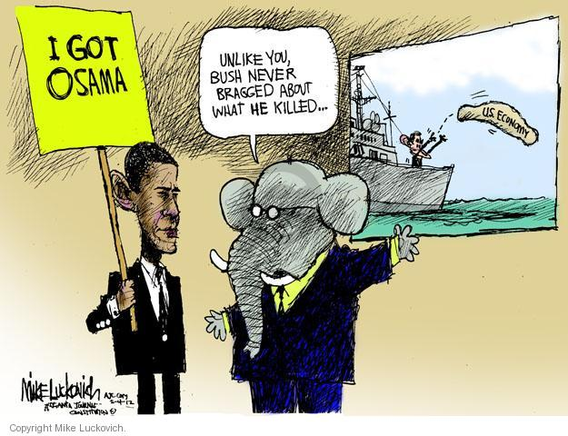 Mike Luckovich  Mike Luckovich's Editorial Cartoons 2012-05-04 Obama terrorism