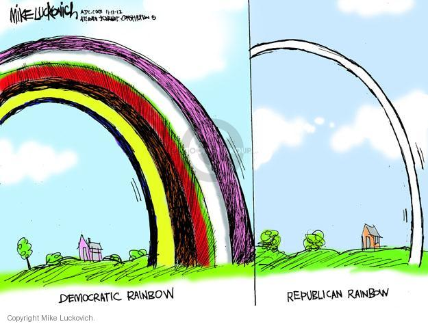 Democratic rainbow. Republican rainbow.