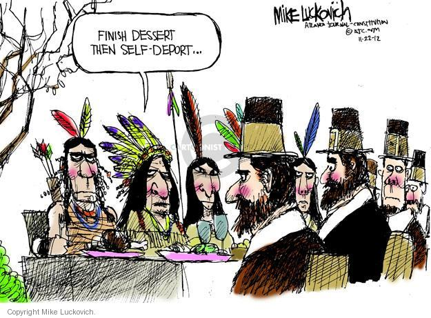 Cartoonist Mike Luckovich  Mike Luckovich's Editorial Cartoons 2012-11-22 Thanksgiving