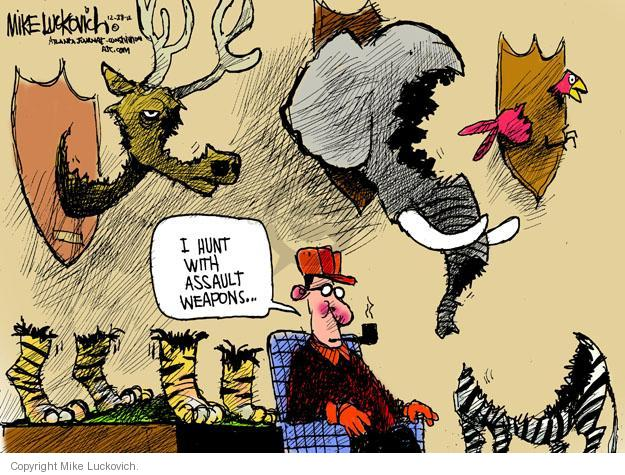 Cartoonist Mike Luckovich  Mike Luckovich's Editorial Cartoons 2012-12-28 hunt