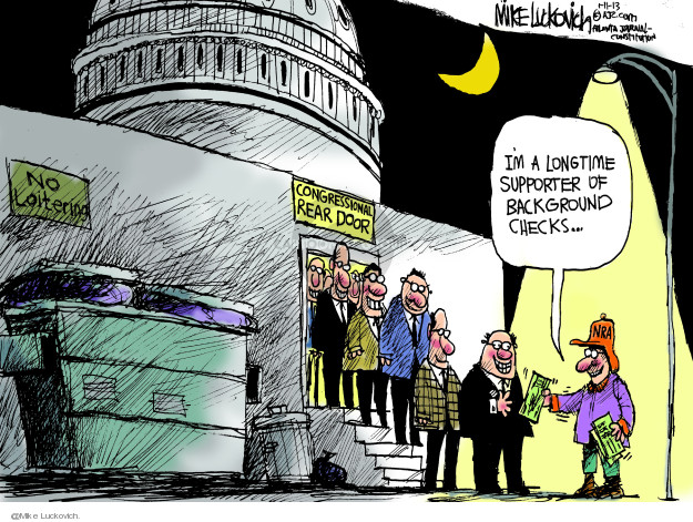 Cartoonist Mike Luckovich  Mike Luckovich's Editorial Cartoons 2013-01-11 assault weapon