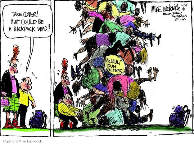 Cartoonist Mike Luckovich  Mike Luckovich's Editorial Cartoons 2013-05-02 assault weapon