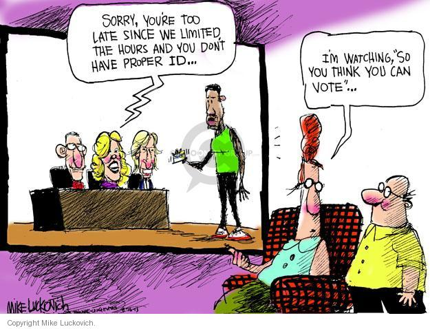 Mike Luckovich  Mike Luckovich's Editorial Cartoons 2013-08-16 voter ID law