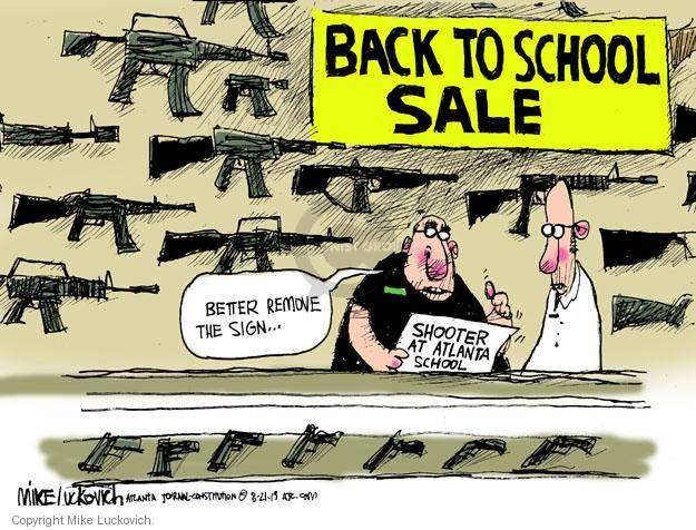 Mike Luckovich  Mike Luckovich's Editorial Cartoons 2013-08-21 school shooter
