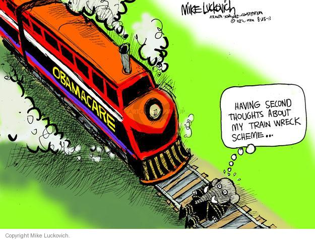 Cartoonist Mike Luckovich  Mike Luckovich's Editorial Cartoons 2013-08-25 train track