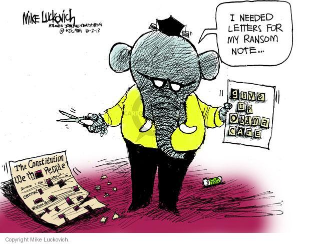 Mike Luckovich  Mike Luckovich's Editorial Cartoons 2013-10-02 policy