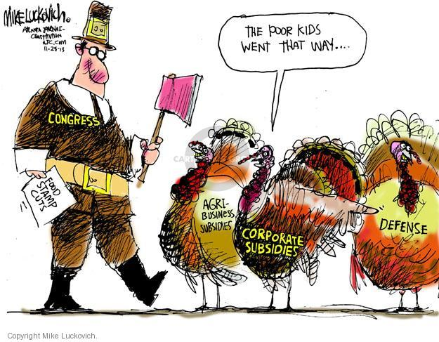 Cartoonist Mike Luckovich  Mike Luckovich's Editorial Cartoons 2013-11-28 cutting
