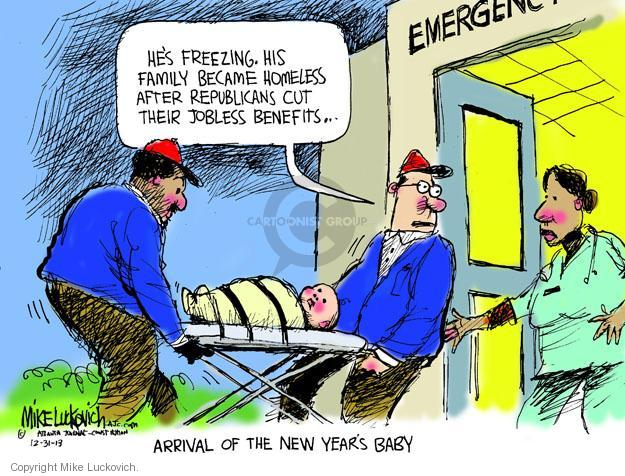 Cartoonist Mike Luckovich  Mike Luckovich's Editorial Cartoons 2013-12-31 unemployment