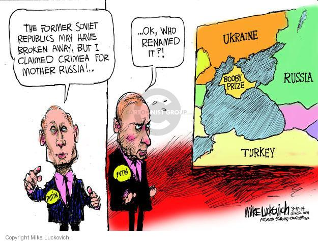 Cartoonist Mike Luckovich  Mike Luckovich's Editorial Cartoons 2014-03-19 conquest
