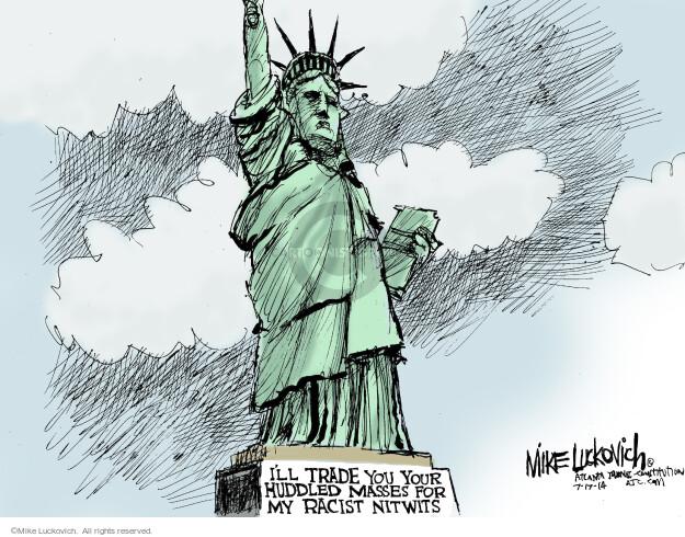 Cartoonist Mike Luckovich  Mike Luckovich's Editorial Cartoons 2014-07-17 racial