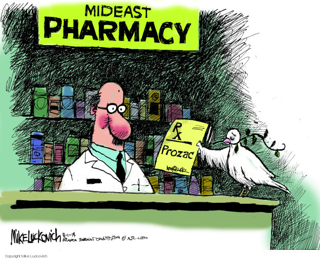 Mideast pharmacy. Rx. Prozac.