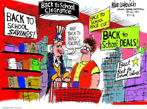 Cartoonist Mike Luckovich  Mike Luckovich's Editorial Cartoons 2014-08-17 Iraq