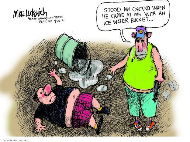 Cartoonist Mike Luckovich  Mike Luckovich's Editorial Cartoons 2014-08-22 handgun