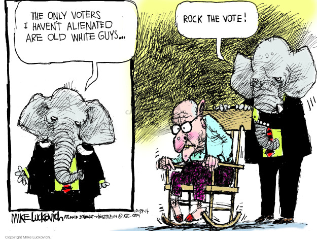 Cartoonist Mike Luckovich  Mike Luckovich's Editorial Cartoons 2014-10-29 aging