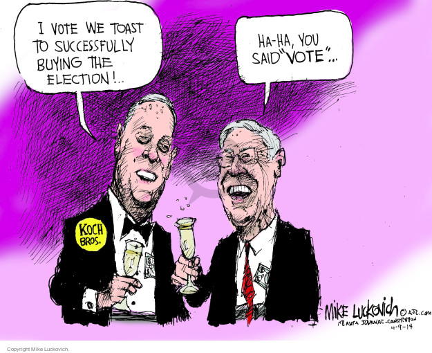 Mike Luckovich  Mike Luckovich's Editorial Cartoons 2014-11-09 money donor