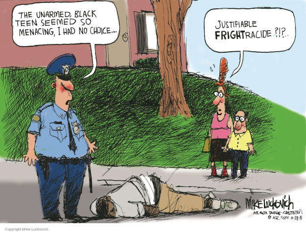 Cartoonist Mike Luckovich  Mike Luckovich's Editorial Cartoons 2014-11-28 racial profile