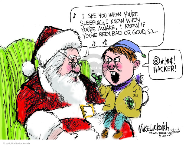 Mike Luckovich  Mike Luckovich's Editorial Cartoons 2014-12-17 cybersecurity