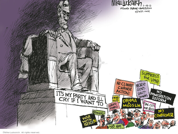Cartoonist Mike Luckovich  Mike Luckovich's Editorial Cartoons 2015-02-18 Abraham Lincoln