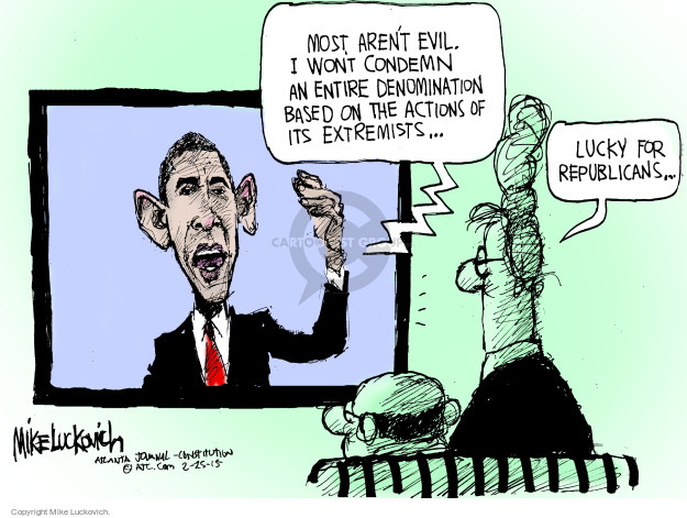 Mike Luckovich  Mike Luckovich's Editorial Cartoons 2015-02-25 Obama terrorism