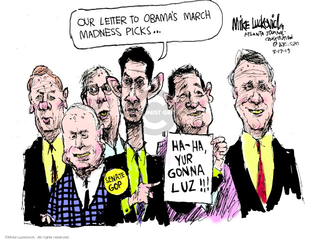 Our letter to Obamas March Madness picks � Ha-ha, yur gonna luz!!! Senate GOP.