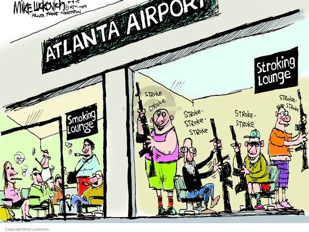 Cartoonist Mike Luckovich  Mike Luckovich's Editorial Cartoons 2015-06-04 handgun