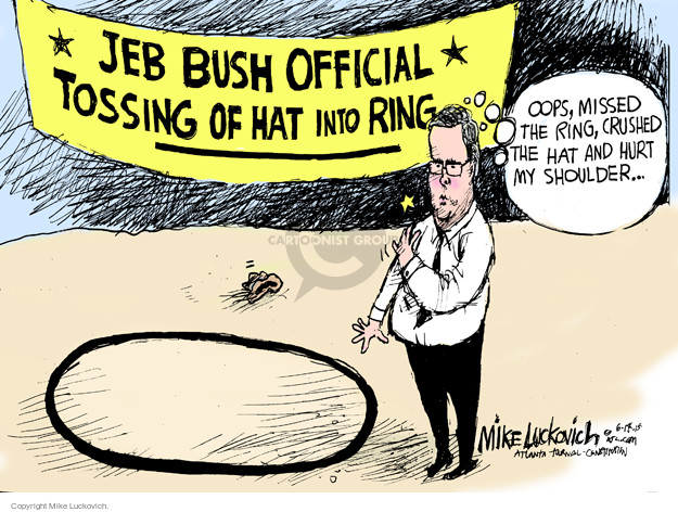 Jeb Bush Official Tossing of Hat into Ring. Oops, missed the ring, crushed the hat and hurt my shoulder …