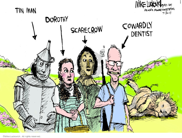 Cartoonist Mike Luckovich  Mike Luckovich's Editorial Cartoons 2015-07-30 dentist