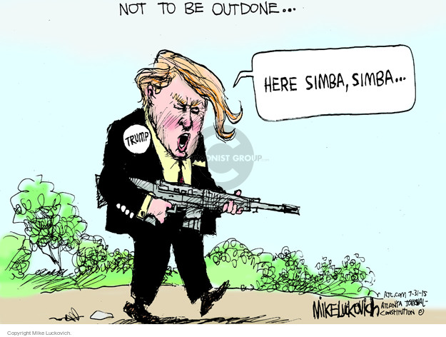 Cartoonist Mike Luckovich  Mike Luckovich's Editorial Cartoons 2015-07-31 hunt
