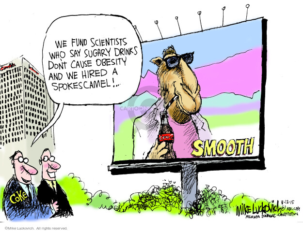 Cartoonist Mike Luckovich  Mike Luckovich's Editorial Cartoons 2015-08-12 unhealthy