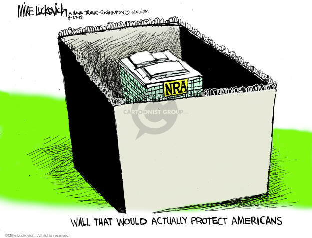 Cartoonist Mike Luckovich  Mike Luckovich's Editorial Cartoons 2015-08-27 gun rights