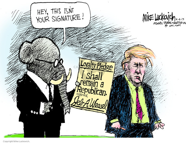 Cartoonist Mike Luckovich  Mike Luckovich's Editorial Cartoons 2015-09-04 election