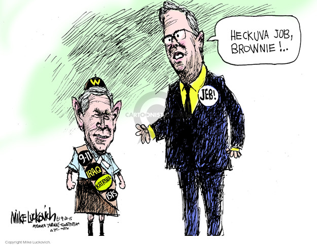 Cartoonist Mike Luckovich  Mike Luckovich's Editorial Cartoons 2015-09-20 Bush administration