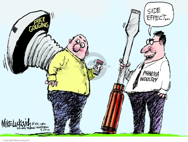 Cartoonist Mike Luckovich  Mike Luckovich's Editorial Cartoons 2015-09-27 cost