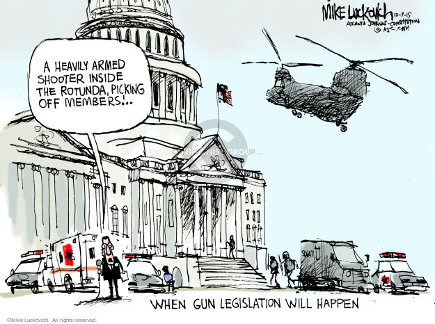 Cartoonist Mike Luckovich  Mike Luckovich's Editorial Cartoons 2015-10-07 weaponry