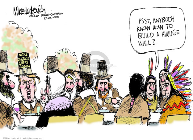 Cartoonist Mike Luckovich  Mike Luckovich's Editorial Cartoons 2015-11-11 Native American