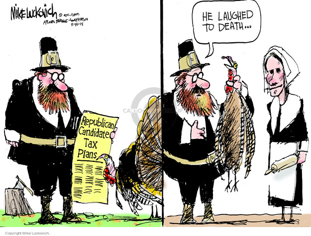 Cartoonist Mike Luckovich  Mike Luckovich's Editorial Cartoons 2015-11-15 death and taxes