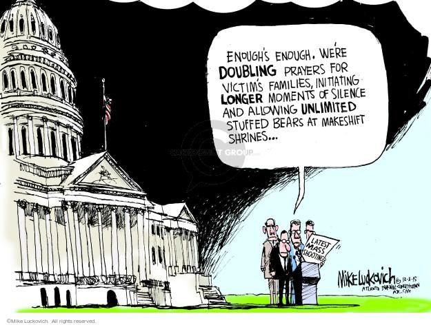 Cartoonist Mike Luckovich  Mike Luckovich's Editorial Cartoons 2015-12-03 gun rights